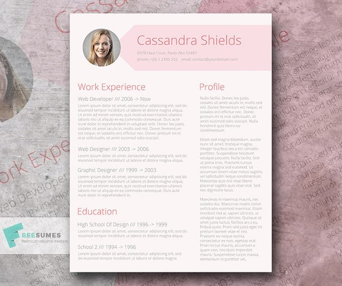 heres a free resume template by freesumes designed in the pink tone it will make your cv look elegant eye friendly and professional at the same time - Photo Resume Template Free