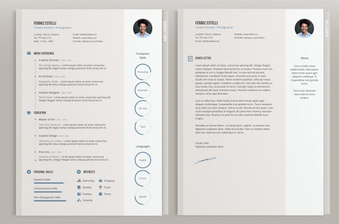 Creative Free Printable Resume Templates  Resume With Photo Template
