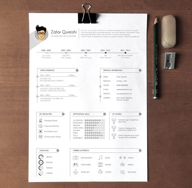 Creative Free Printable Resume Templates  Graphic Design Resume Template