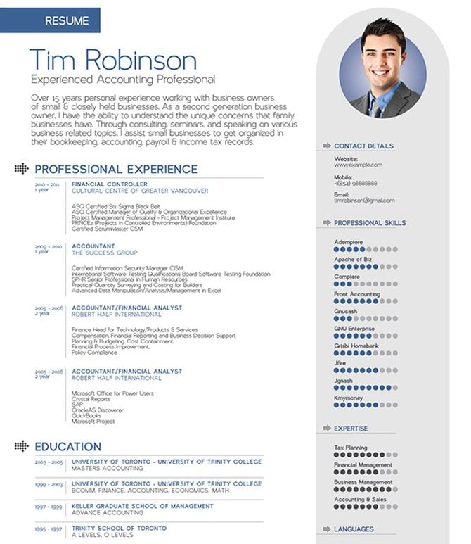 Resume With Photo Template  Template