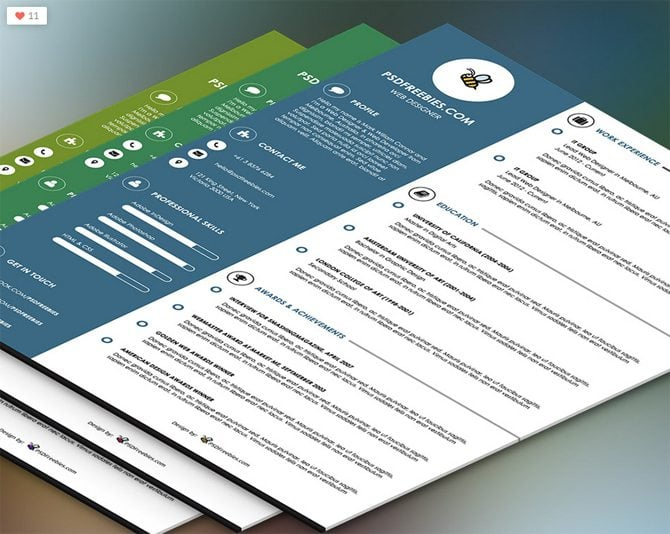 Creative Free Printable Resume Templates  Psd Resume Template