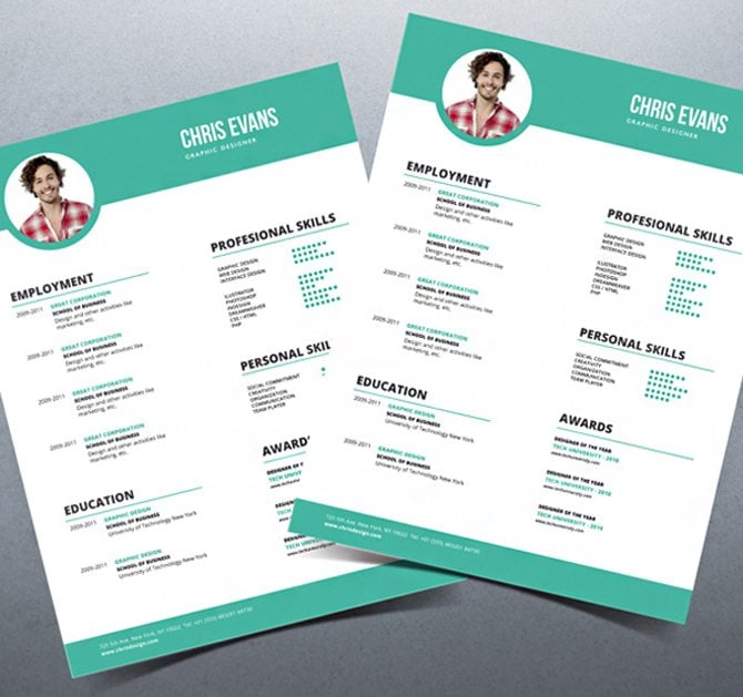 Creative Free Printable Resume Templates  Resume Templates With Photo