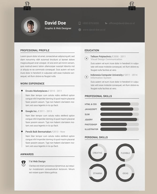 This modest PSD -layered template features all the essential resume ...