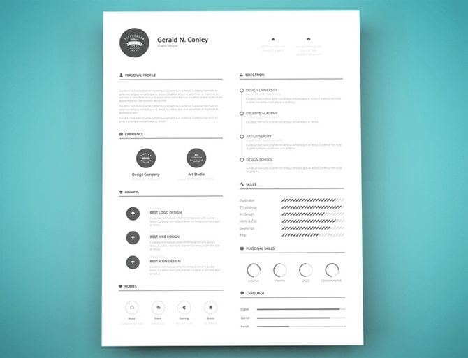 Clever Design Resume Template 3 Graphic Designer Vector. Resume