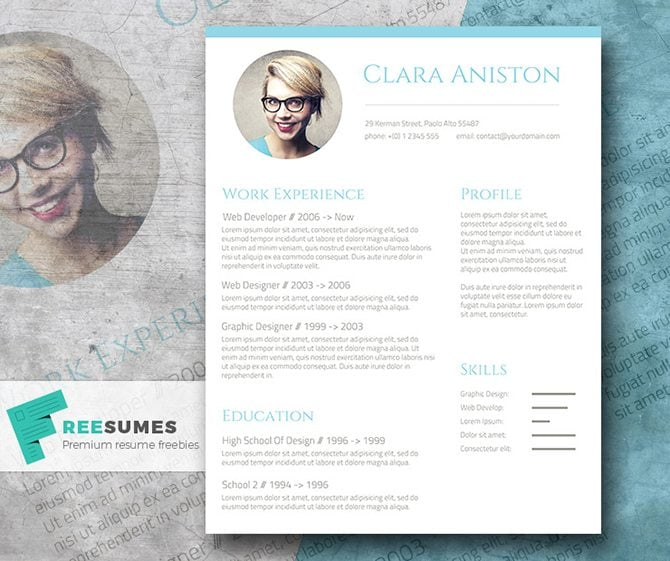 this free resume template is composed of blocks that highlight contact details work experience education skills and profile you can also attach a photo - Resume Templates For Graphic Designers