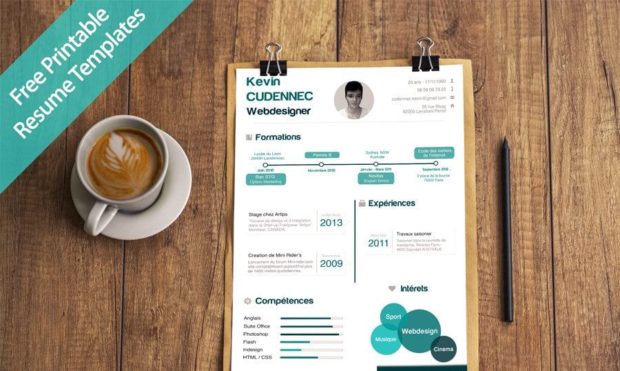 Creative Free Printable Resume Templates  Design Resume Templates