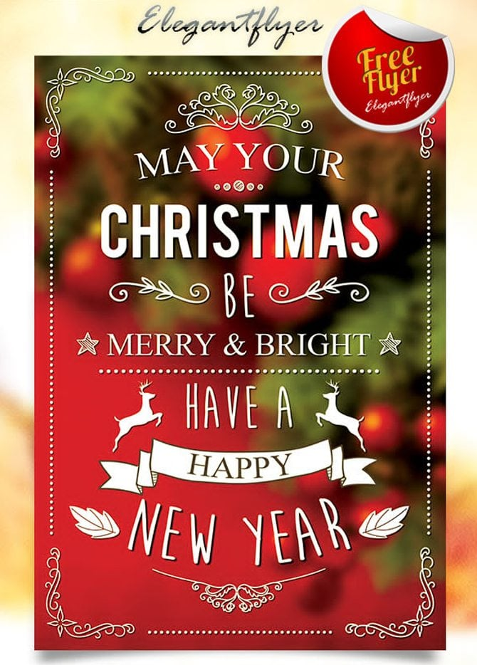 30 Free Christmas and New Year PSD Flyers for Promos – New Year Poster Template