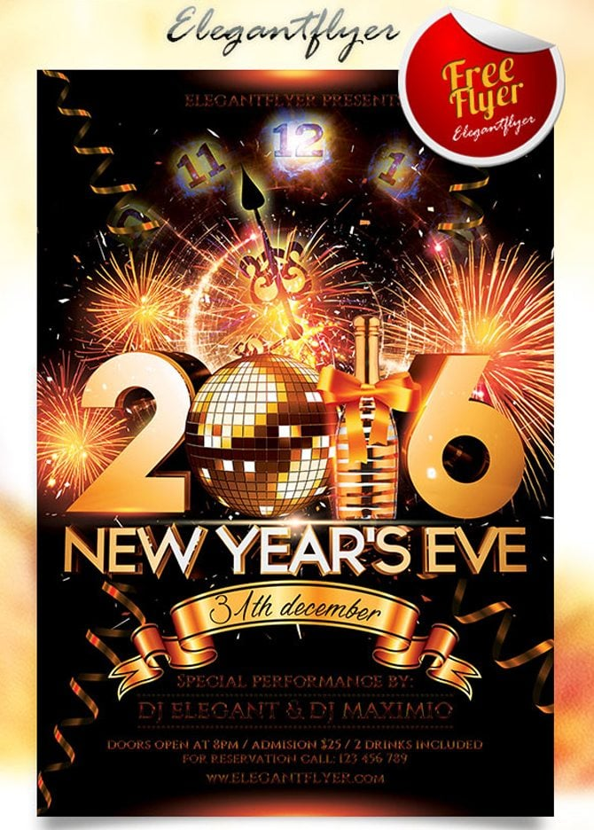 Best free christmas and new year psd flyers to promote your event free new years eve psd flyers saigontimesfo