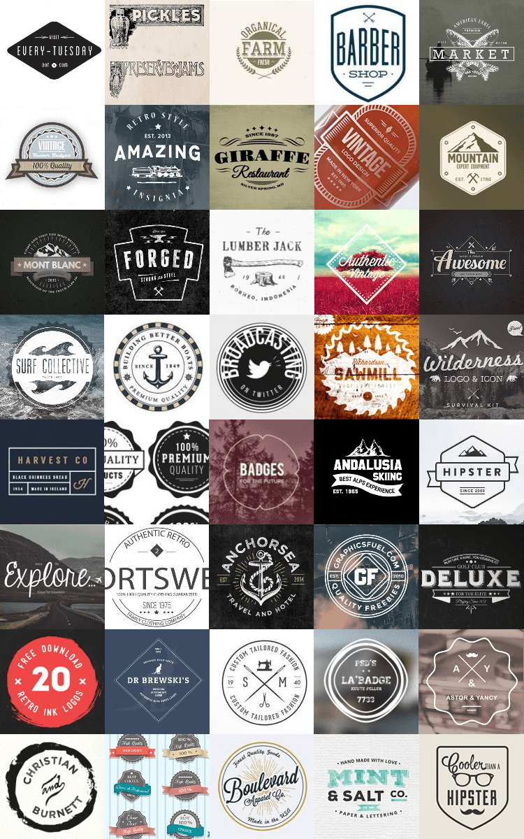 200 vintage freebies of premium quality vintage logo templates pronofoot35fo Image collections