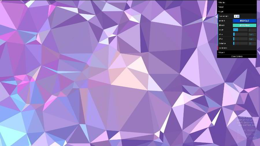 This tool makes use of Delaunay triangulation to generate impressive high-contrast low-poly backgrounds.