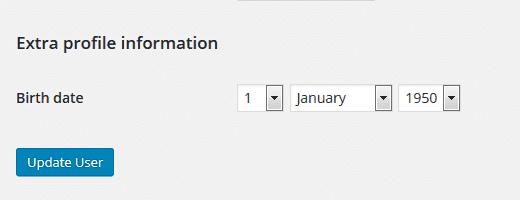 User's birth date meta data in WordPress admin panel