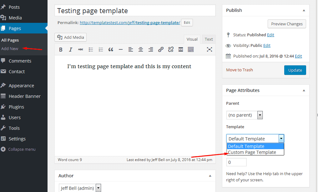 How to create a custom page template in wordpress 4 x for Create a new page template wordpress