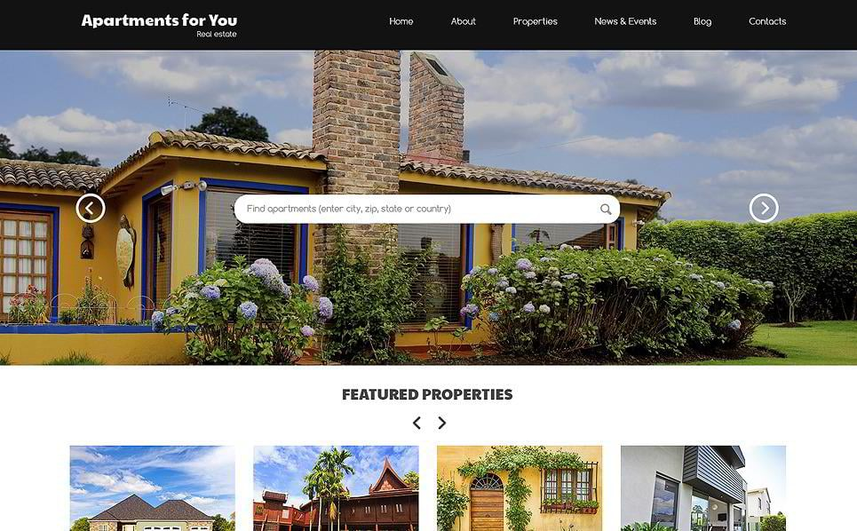 Apartments for you is an informatory real estate WordPress theme for realtors. It has a site-wide search option available straight from the website header.