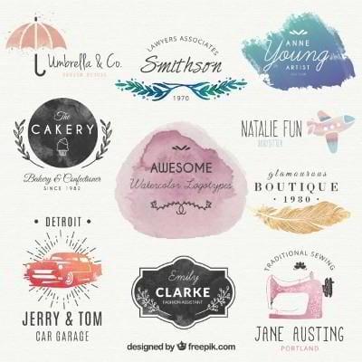 free watercolor logo templates