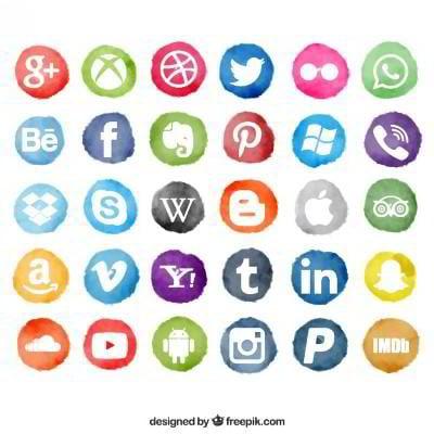 30 watercolor social icons