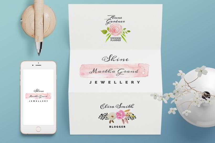 3 Watercolor Floral Free Logos