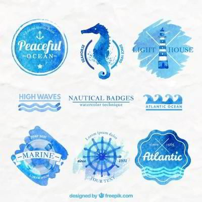 watercolor sea badges