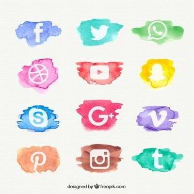12 social media icons watercolor design