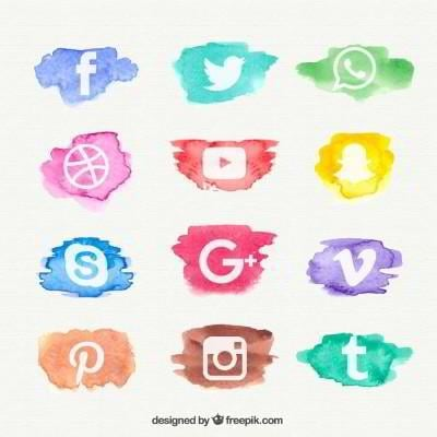 12 social media icons watercolor design