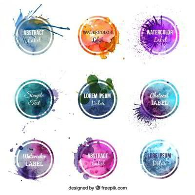 circular watercolor badges
