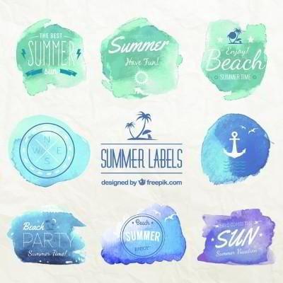 summer holiday watercolor badges