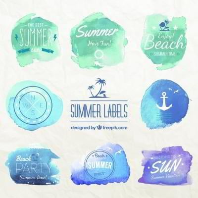 summer holiday watercolor badges