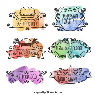 hand drawn food logos watercolor