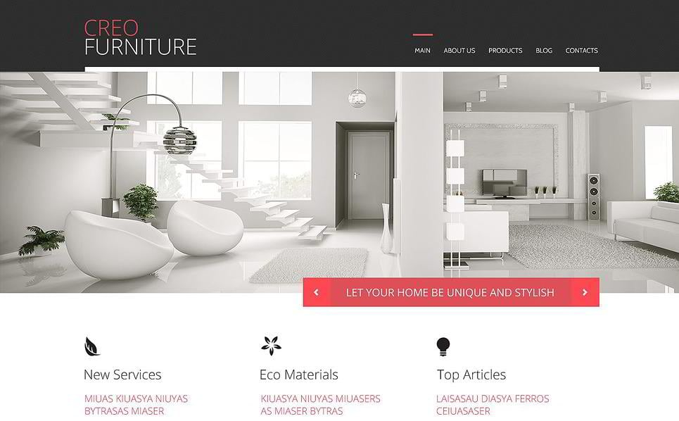 affordable creo furniture is a beautiful wordpress theme for furniture store it has bright red accents to emphasize the important areas on the website with - Beautiful Furniture Websites