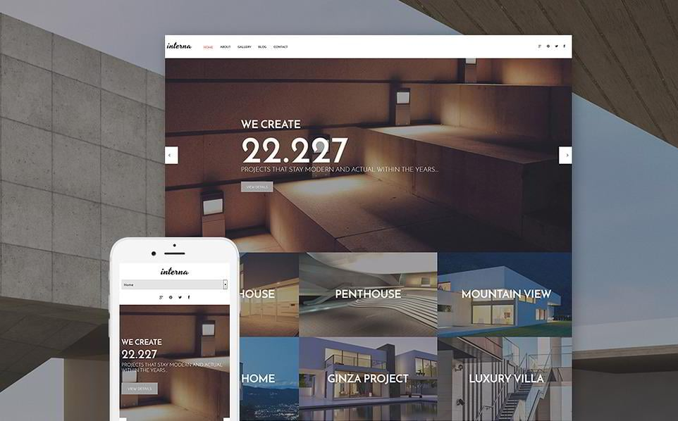 Interna Is A Beautiful WordPress Theme For Interior Design Business  Websites. It Has A Full Width Image Slider In The Header That Can Attract  Crowds ...