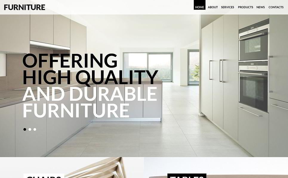 Furniture Is An Impressive WordPress Theme To Use For Design Websites.  Thanks To The Parallax Scrolling Effect, This Theme Has A Lot Of Space And  Dimension.