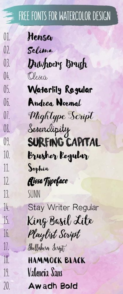 20 Free Brush Fonts for Watercolor Design