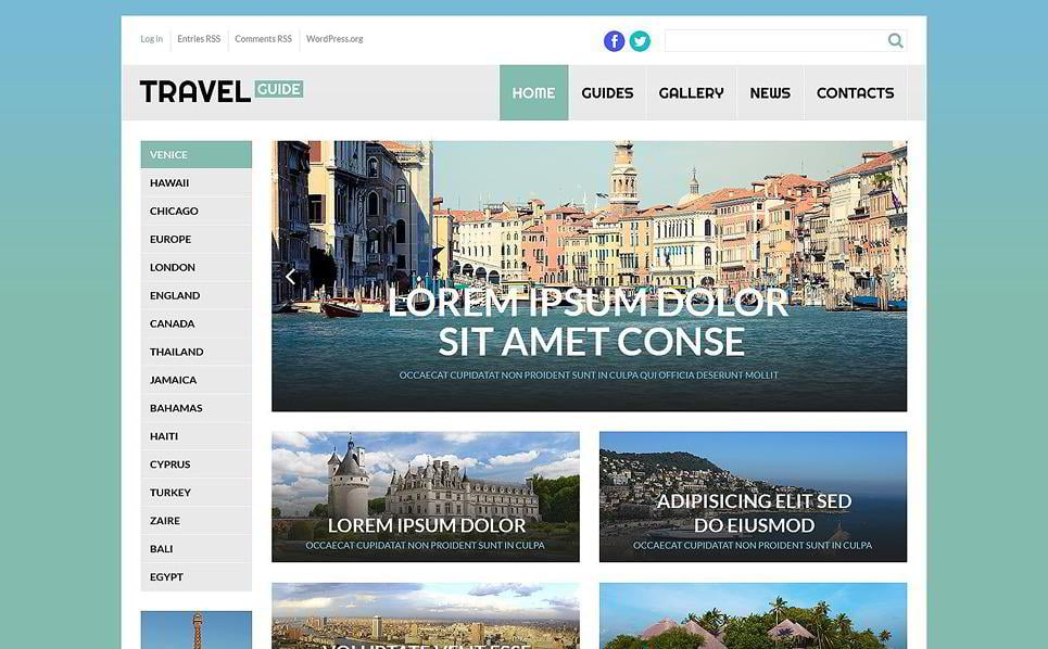 This Travel Guide WordPress Template Looks Neat And Straightforward With Well Structured Grid Like Layout Item Is Best Suited For A Blog