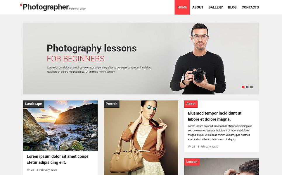 Responsive Photographer WordPress Templates MonsterPost - Photography ad template