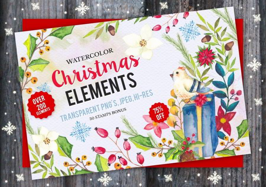 17-watercolor-christmas-elements
