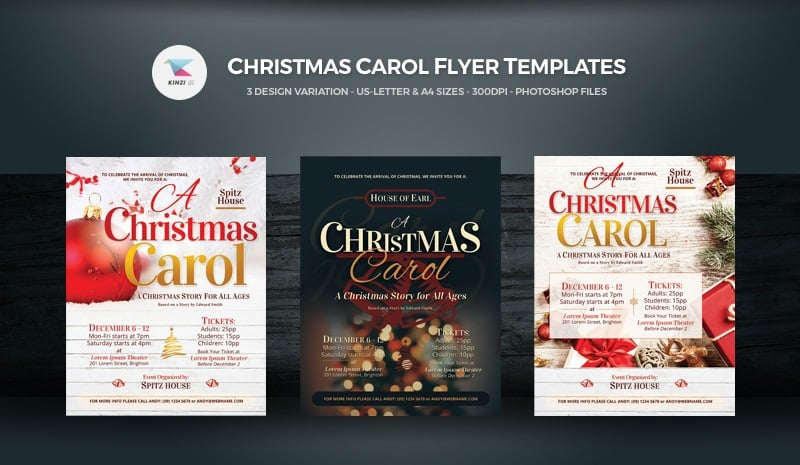 Christmas Carol Flyers Corporate Identity Template