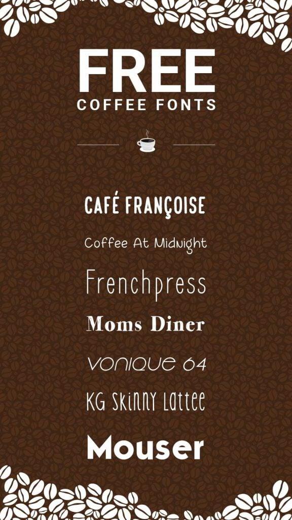 Free coffee fonts