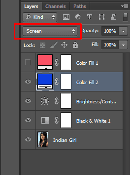 Changing a blend mode of a layer in Photoshop