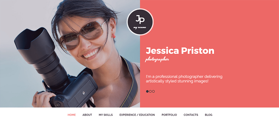 Jessica Priston Photo Sharing WordPress Theme