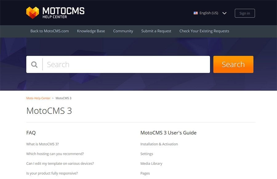 MotoCMS knowledge base