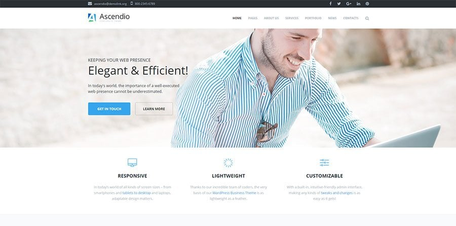 Acsendio, a corporate WordPress theme