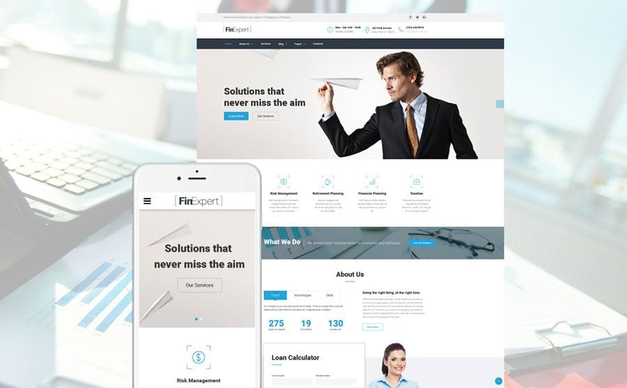 10 professional business website templates in 2017 monsterpost the template includes styles for a loan calculator services team members section coming soon page and more finexpert features a collection pronofoot35fo Images