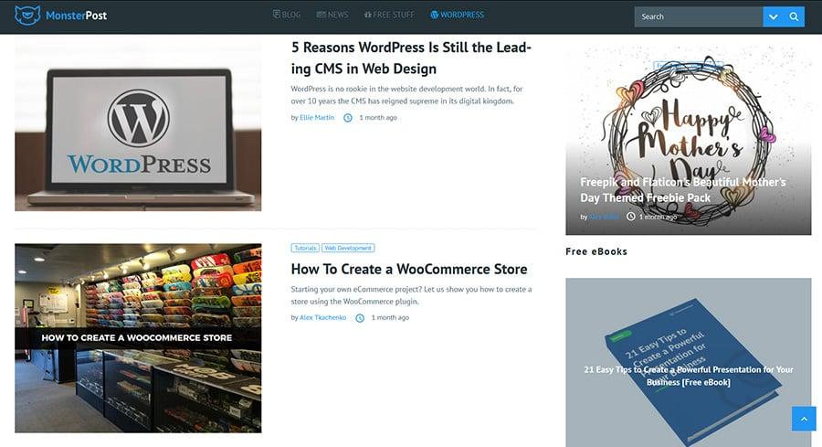 WordPress blog MonsterPost