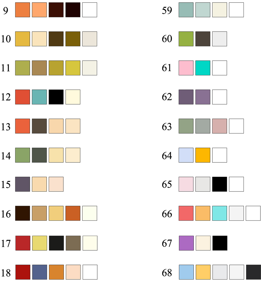 100 real color palettes inspired by best selling digital products