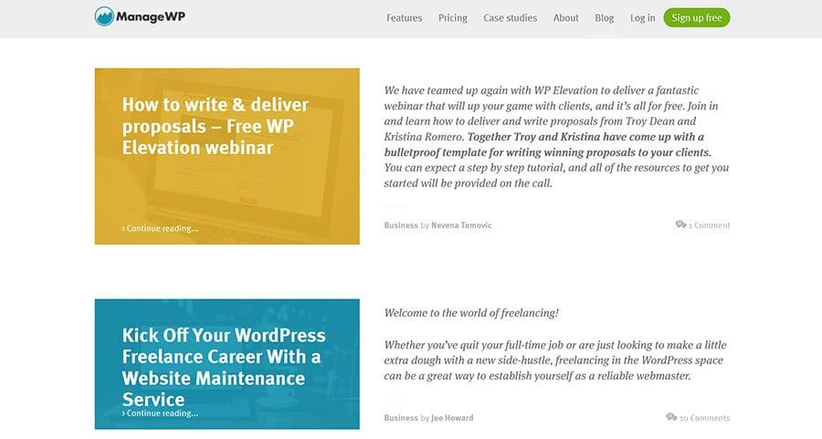 WordPress blog ManageWP