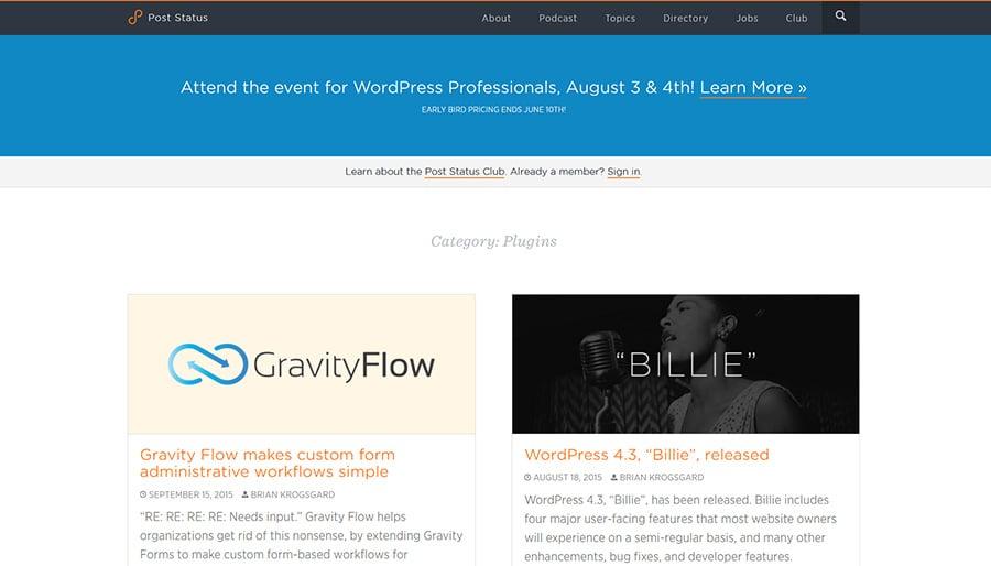 WordPress blog Post Status