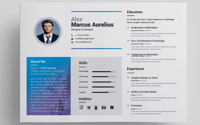 Marcus Resume Template  Attractive Resume Templates