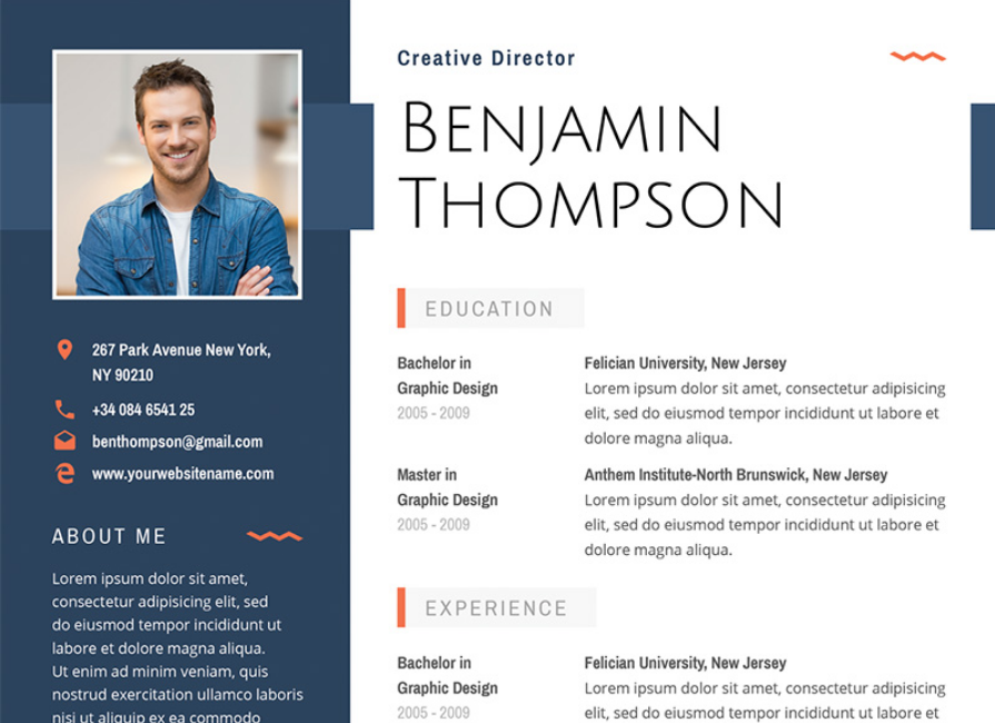 Benjamin Thompson   Multipurpose Elegant Resume Template  Resume Template With Photo