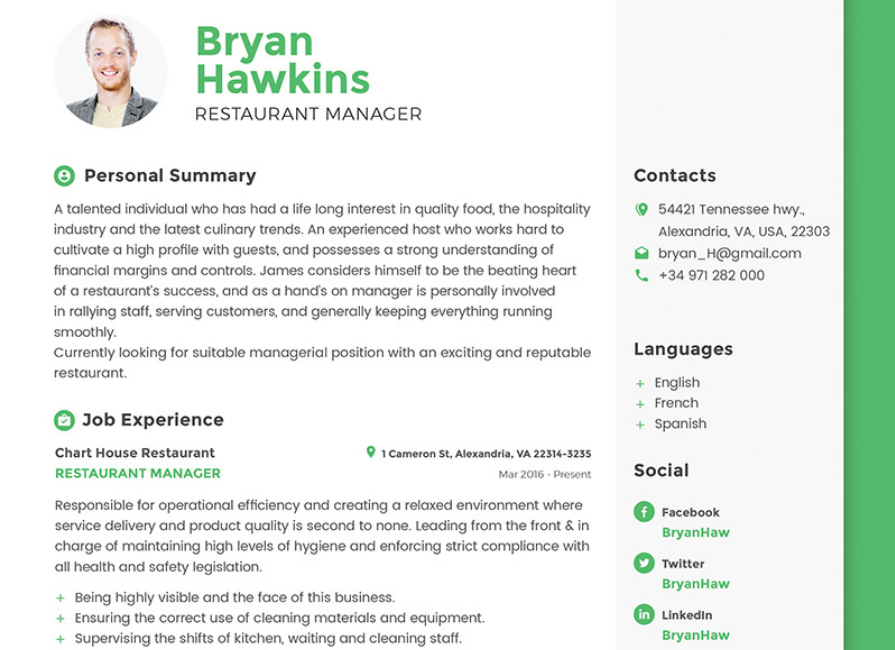 Bryan Hawkins   Restaurant Manager Resume Template  Photo Resume Template