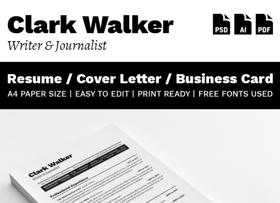Clark Walker - Writer & Journalist Resume Template
