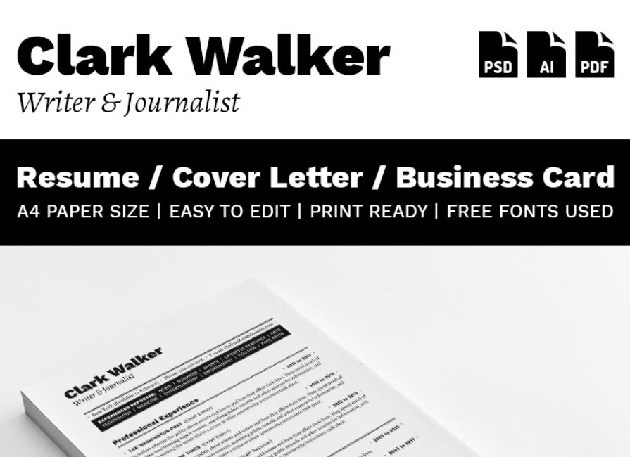 Clark Walker - Writer & Journalist Resume Template